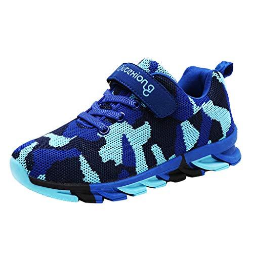 HDUFGJ Unisex - Kinder Sneaker Jungen Tarnung Freizeitschuhe Laufschuhe Outdoorschuhe rutschfeste Bequem Leichtgewicht Laufschuhe Faule Schuhe Freizeitschuhe Turnschuhe fitnessschuhe35 EU(Blau)