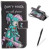Feeltech HUAWEI P9 Lite Hülle PU-Leder und Brieftasche Bunte Muster Fall mit Magnetverschluss, Hybrid-Kickstand mit Stand-Funktion, schlagen Sie schützende weiche TPU Stoßstangenabdeckung und Kreditkartenhalter für HUAWEI P9 Lite Handgelenk Bügel-Buch-Art-Geldbeutel-Tasche mit 2 In 1 Berühren Sie Stift - White leopard