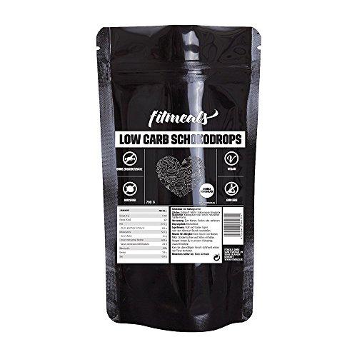 fitmeals Low Carb Schokodrops, vegan & ohne Zuckerzusatz (Dunkle Schokolade, 700 GR) Belgische Premium Schokolade