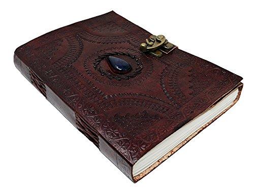 Handgefertigtes Ledertagebuch / Notizbuch, 25,4cm, geprägt, keltischer blauer Lasurstein, blanko, persönliches Tagebuch, nachfüllbar, Geschenk (Große Klassische Geschichten)