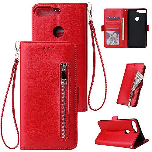 WIWJ Kompatibel mit Huawei Y6 2018/Huawei Honor 7A Hülle Reißverschluss Lederhülle Wallet Handyhülle Klapphülle Ultra Slim Flip Case Stand Schutzhülle 360 Grad Bumper Tasche-Rot -