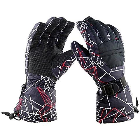 Hombres mujeres deportes al aire libre invierno Snowboard moto motocicleta bicicleta impermeable a prueba de viento caliente dedo completo guantes de esquí con bolsillo con cremallera