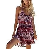 Strandkleid Damen Elegant Kleid Kurz Vintage Hippie Boho Ethno Style Druck Ärmellos Sommerkleider Mode Casual Sommer Strand Minikleid