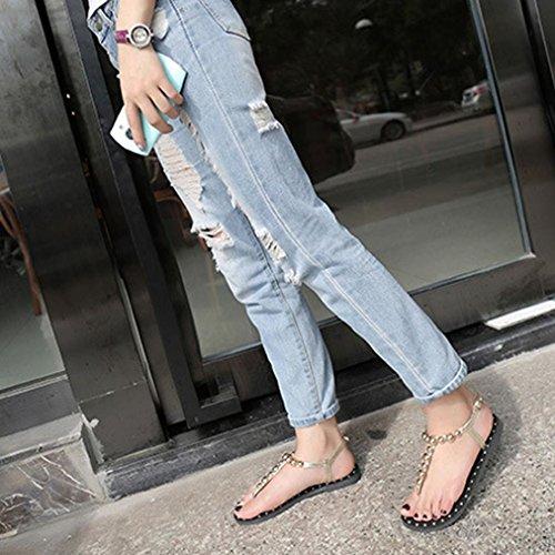 Fulltime® Femmes Sandales Mode plat sandales perlées solide Chaussures Or