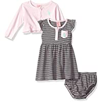 U.S. Polo Assn. Baby Girl's Dress With Sweater or Jacket Dress, striped flutter sleeve baby pink, 18M