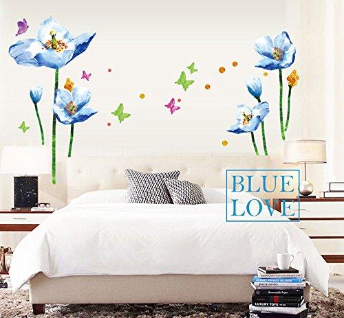 Ufengke® fiori blu e farfalle adesivi murali, camera da letto soggiorno adesivi da parete removibili/stickers murali/decorazione murale