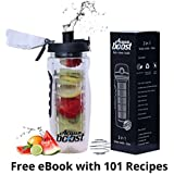 Acquaboost Fruit Infuser Water Bottle, Protein Shaker Bottle And Insulated Bottle 3In1 - Black 1000 Ml