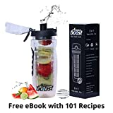 #8: Acquaboost Fruit Infuser Water Bottle, Protein Shaker Bottle And Insulated Bottle 3In1 - Black 1000 Ml