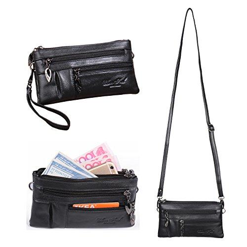 Kleine Umhängetasche Damen Handytasche Geldbörse Mini Handtaschen PU Leder Schultertasche für Mädchen Frauen mit Langem Schultergurt und Handschlaufe Katloo (Schwarz)