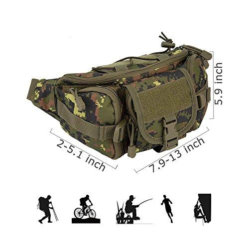 Oleander Taktische Taille Pack Military Fanny Packs Hüftgürtel Tasche Beutel Werkzeug Organizer für Outdoor Wandern Klettern Angeln Jagd Bum Bag Dschungel digital