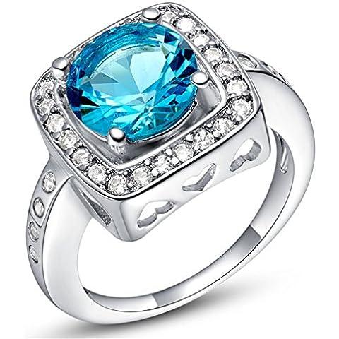 14 * 14 millimeter Tailloday de milímetro de cristal grande Vintage diamante simulado 925 anillo de plata de ley con circonitas y un corazón anillos de la vendimia Color