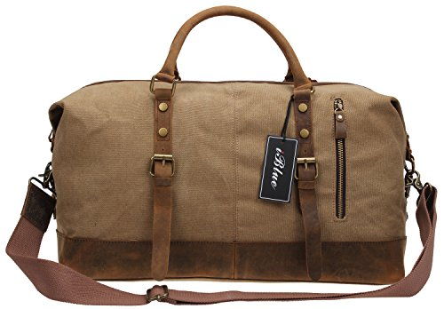 Oversized Travel Tote (Über Nacht Leinwand Leder Travel Tote Duffel Gym Schulter Handtasche Weekender bag21in # d-004)