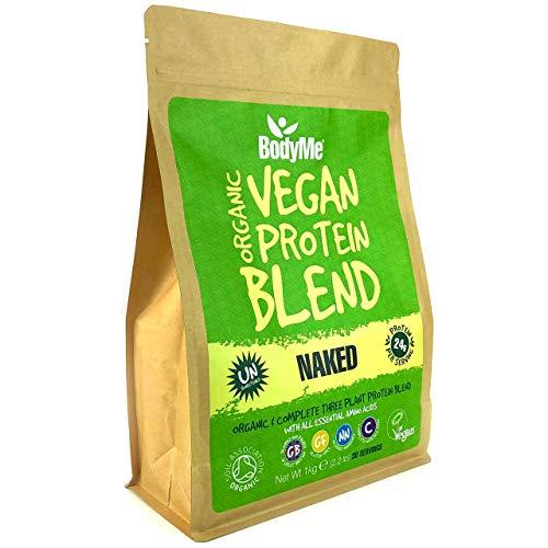 BodyMe Mélange Poudre Proteine Vegan Bio | Naked Naturel | 1kg | NON SUCRE | Faible Glucide | Sans Gluten | 3 Proteines Vegetales | 24g Protéine Vegan Biologique Complète | Acides Aminés Essentiel