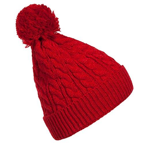 Inovey Outdoor Wollmütze Cap Winter Warm Crochet Knit Beret Ski Beanie Ball -Rot (Crochet Beret)