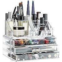 Relaxdays 10023137_50 Organizer Make-Up, Piccolo, 2 Pezzi, Contenitore per Cosmetici con Cassetti, Trasparente