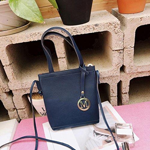 Longra Borsa di borsa del telefono del sacchetto della moneta della borsa del sacchetto di spalla del sacchetto di Crossbody del cuoio sintetico delle donne di colore solido Blu