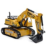 Jersh★ Remote Control Vehicle, 1:24 2.4G RC 4-Channel Tractor Truck Digger Car Rechargeable Wireless Remote Control Truck Toy Stone Light Electric Bulldozer Dumper Excavator Model