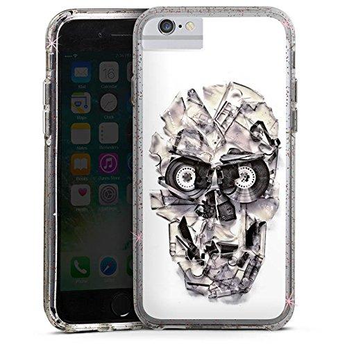 Apple iPhone 7 Bumper Hülle Bumper Case Glitzer Hülle Totenkopf Schädel Skull Bumper Case Glitzer rose gold