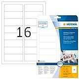 Herma 10009 Etiketten ablösbar, wieder haftend (88,9 x 33,8 mm) weiß, 400 Aufkleber, 25 Blatt DIN A4 Papier matt, bedruckbar, selbstklebend, Movables