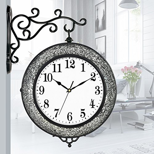 Two-sided watch modern creative silver black black personality broken glass mosaic decorative wall clock