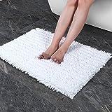 Norcho Badematte Weiche Mikrofaser Chenille Badematte Badevorleger Rutschfest Antibakteriell Teppich 80x50cm Weiß