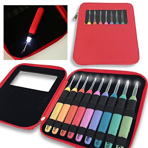 KNITISS LED Lite Haken 9 Sets Beleuchtete Häkelnadeln Set mit Organizer Case & Ersatzbatterien Beleuchteter Nahttrenner - Größe 2,5mm bis 6,5mm (Rot) (Häkelnadel Organizer)