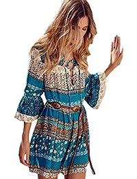 Le Donne Sono Bohemien Floreali Breve Arruffato Manica Swing Vestito 5d041a5520e