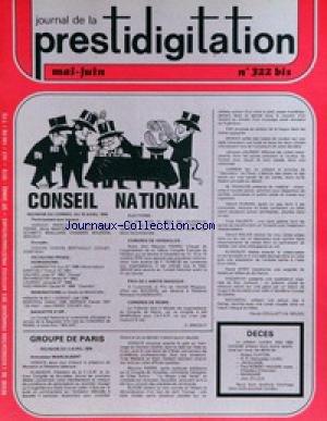 JOURNAL DE LA PRESTIDIGITATION [No 322] du 01/05/1978 - GROUPE DE PARIS.