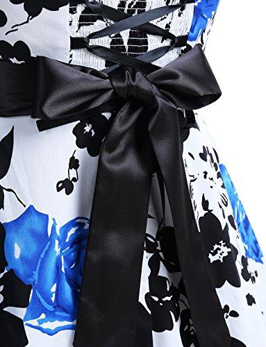 Dressystar Vintage Tupfen Retro Cocktail Abschlussball Kleider 50er 60er Rockabilly Neckholder Blau Blume