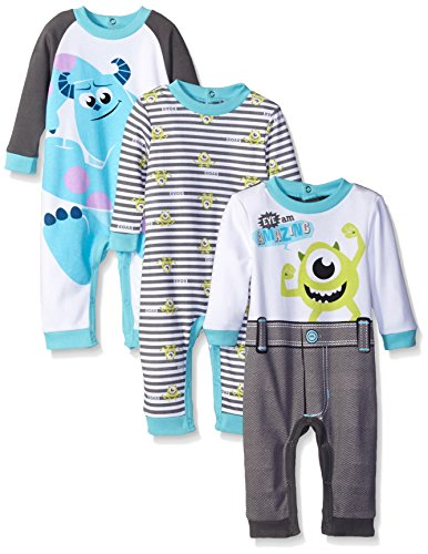 Disney Baby Monsters Inc Mike and Sully Coveralls, Blue, 24 (Pack of 3)