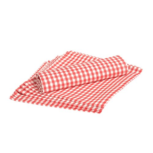 Vaitkute 212017 6-er Set Halbleinen Servietten Karo 45 x 45 cm, einfach gesäumt, 50% Leinen und Baumwolle, 40 Celsius waschbar, 210 g / m2, weiß/rot kariert