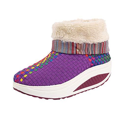 Cardith Damen Freizeit SchneeschuheHalten Sie das warme Weben der runden Zeherutschfeste Flache Schuhe Woven Rocking Boots