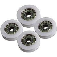 Yibuy - Polea para Puerta, 4 x plástico, rodamiento de Bolas de Acero, Forma de V, 27 x 6 x 8 mm