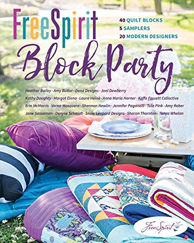 FreeSpirit Block Party: 40 Quilt Blocks, 5 Samplers, 20 Modern Designers (English Edition)