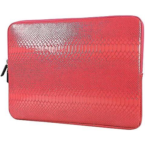 Laptop Protectora Funda, iNeseon * La piel de Serpiente de la PU Leather Sleeve para Ordenadores MacBook Air Pro 13 Pulgadas Retina (Rojo)