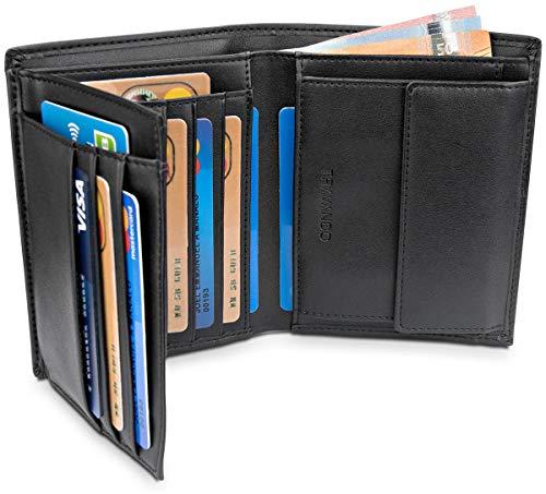 TRAVANDO ® Geldbeutel Männer Lima RFID Geldbörse Herren schwarz Portemonnaie Portmonaise Geldtasche groß Brieftasche Hochformat Herrengeldbeutel Herrenbörse Herrengeldbörse Portmonee