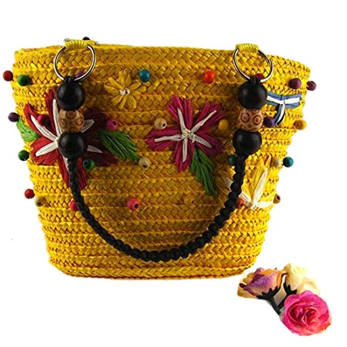 Donne Caramella Di Estate Casuale Colore Tessitura Tote Bag Borse Di Spalla Di Acquisto Giallo