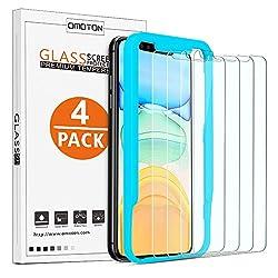 OMOTON [4 Stück] Panzerglas für iPhone 11 und iPhone XR (6,1 Zoll),iPhone 11 Displayschutzfolie mit Positionierhilfe,9H Härte,Anti-Kratzen,Anti-Öl,Anti-Bläschen,[2.5D Runde Kante]
