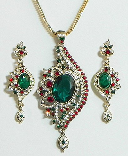DollsofIndia Green And White Stone Studded Pendant With Chain And Earrings - Stone And Metal (EK71-mod) - Green