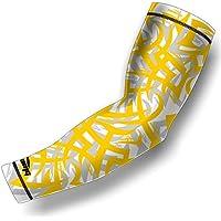 COOLOMG (1 pieza) de compresión manga del brazo juvenil antideslizante adulto UV Protección de béisbol amarillo X-Small
