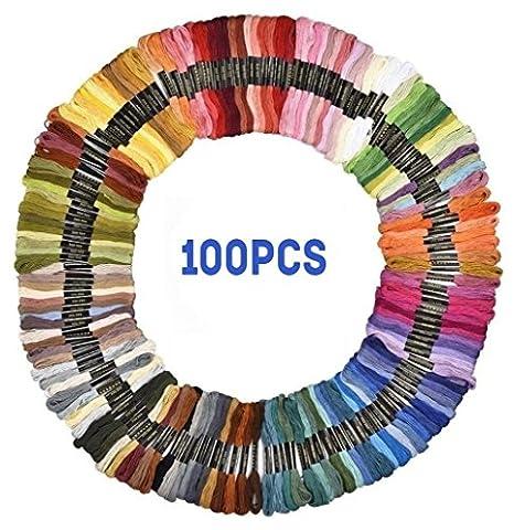 Premium 150Echevettes Fil à broder au point de croix fils Dikete® Bracelets de l'amitié Floss 8m 6brins Rainbow Couleur en coton doux à coudre pour art Craft DIY 100pcs