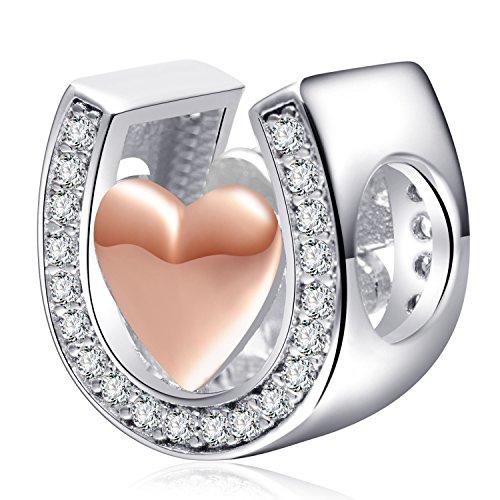 a3be23836708 Abalorio de plata de ley 925 con forma de herradura en forma de corazón de  oro rosa con circonita cúbica para pulseras Pandora