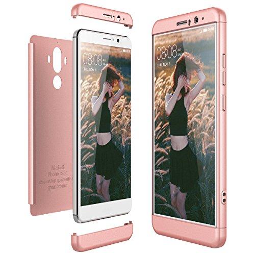 CE-Link Funda para Huawei Mate 9 Rigida 360 Grados Integral, Carcasa Mate 9 Silicona Snap On Diseño Antigolpes Choque Absorción, Huawei Mate 9 Case Bumper 3 en 1 Estructura - Oro Rosa