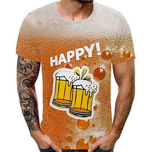 3D-Druck Oktoberfest Herren T Shirt Kurzarm Slim Top Männer Lustig Bequem Freizeithemd Sommer College Bluse Sport Fitness Oberteile Business Oberteil Tees Hawaii Urlaub Hemd(Gelb B.XXL)