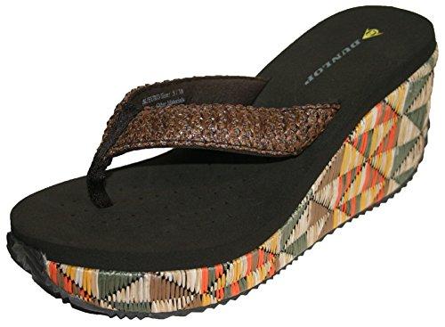 Dunlop–Für Damen Strand Sandale Flip Flops ausgeglichen - Marron multicolore