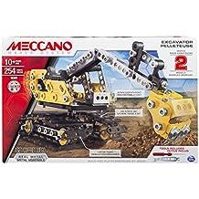 Meccano Construction Digger - juegos de construcción (Vehicle erector set, 10 año(s), 254 pieza(s), Negro, Metálico, Amarillo, Metal, 360°)