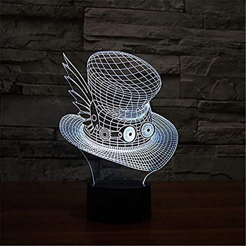 WJPDELP-YEDE Kreative Big Eye Hut Tischlampe 3Dvision LED USB 7 Farben Ändern Cap Nachtlicht Baby Nacht Schlaf Beleuchtung Schlafzimmer Dekor Geschenke (Santa Hut Big)