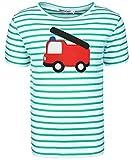 zoolaboo T-Shirt Jungen Feuerwehr Tatü-Tata, Gestreift in Weiß/Grün, Größe 80