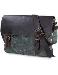 Lifewit Herren Vintage Umhängetasche 15,6 Zoll Laptoptasche Messenger Bag Aktentasche Schultertasche Arbeitstasche Notebooktasche aus gewachstem Canvas und Leder,Grün