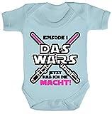 ShirtStreet Strampler mit Motiv Bio Baumwoll Baby Body kurzarm Mädchen - Das Wars jetzt hab ich die Macht, Größe: 12-18 Monate,Dusty Blue